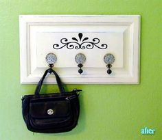 old cabinet door ideas- I need stencils paint, hooks and I am going to have a place for my necklaces. My cabinet doors are a lot bigger