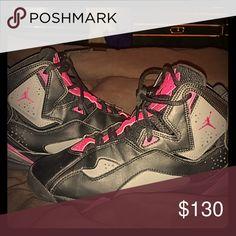 67a9e382db4 Jordan true flight Jordan sign, gray black and pink Jordan Shoes Sneakers