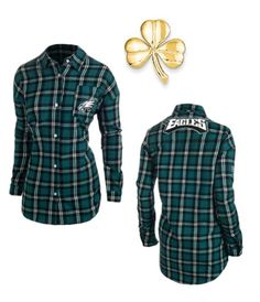 Women's Klew Green Philadelphia Eagles Wordmark Flannel Long Sleeve Shirt