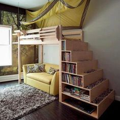 Great lofted bed for small spaces #smallspaces #bedroom www.organizetips.com