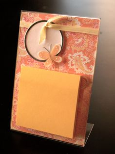 Personalized Sticky Notes Holder: Orange Paisley with Yellow