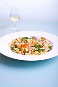 Huon Premium Hot Smoked Salmon pasta with avocado and rocket. #HuonSalmon