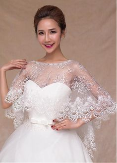 Buy discount In Stock Gorgeous Ivory Lace Wedding Shawl With Rhinestones at Dressilyme.com