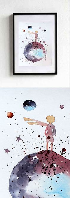 new The LITTLE PRINCE 1 ORIGINAL Watercolor Le Petit by EmelArt