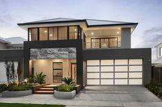 Front Elevation Designs, House Elevation, My Home Design, House Design, Dark Grey Houses, Ventura Homes, Pacific Homes, Two Storey House, Storey Homes