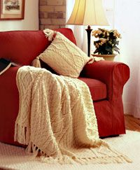 Aran Living Room Set http://www.canadianliving.com/crafts/knitting/aran_afghan_with_matching_pillow.php