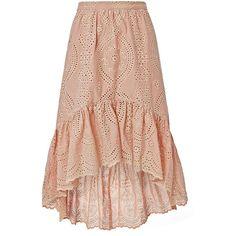 LOVESHACKFANCY Women's Pam High-Low Eyelet Skirt found on Polyvore featuring skirts, light pink, embroidered skirt, flounce hem skirt, hi lo skirt, short front long back skirt and short in front long in back skirt
