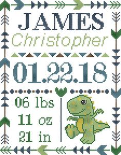 Cute Baby T-Rex Dinosaur Cross Stitch Pattern, personalized for you, Designed on: 16 Count Aida Fabric Design size: 7 W x 9 H (112 x 144 stitches) Uses 8 DMC floss Colors PDF files include: Pattern on a grid DMC Floss List Pattern sizing details Basic Cross Stitch Instructions