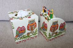 Pencil Box and Tissue Box Cover With Owls Decoupage by Jurosihandmade