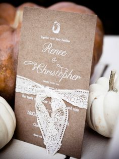 brown and lace wedding invitation