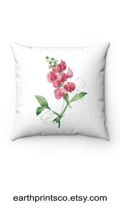 """Floral throw pillow cover / botanical throw pillowcase / Everlasting Pea flower cover for accent pillows ✻ Pillow cover / Pillowcase ✻ floral botanical design ✻ Everlasting Pea Flower print ✻ Available 4 sizes: 14""""x14"""", 16""""x16"""", 18""""x18"""", 20""""x20"""" ✻ Pillow is not included ✻ 100% Polyester ✻ Double-sided print ✻ Concealed zipper Square Pillow Covers, Throw Pillow Covers, Pillow Cases, Floral Throw Pillows, Accent Pillows, Pea Flower, Flower Prints, Zipper, Flowers"""