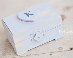 Ring Bearer Box - Personalized, Rustic Ring Pillow // RB04