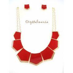 Set de collar y aretes en tono rojo con base dorada estilo 3166