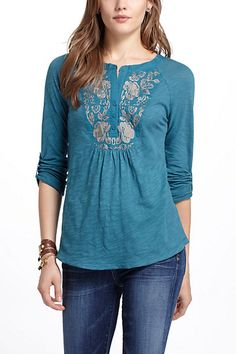 Embroidered Peasant Tee - Anthropologie.com