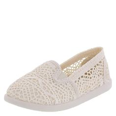 Perfect with her favorite pair of jeans, this slip-on from Airwalk features a crochet upper with peek-a-boo sides, twin gores for easy on/easy off, canvas lining, padded insole, and a flexible outsole. Manmade materials.