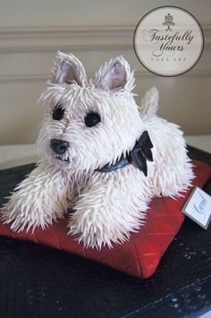 Cute dog cake by Tastefully yours.                                                                                                                                                     More