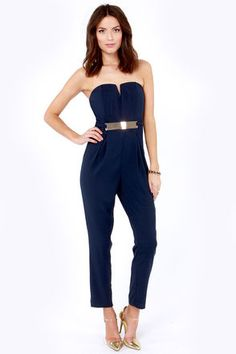 Step Up to the Plate Strapless Navy Blue Jumpsuit at LuLus.com! #holiday #party