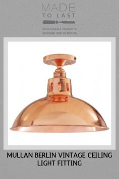The Mullan Berlin Vintage Ceiling Fitting will bring a smooth ambience to your room. Modern Flush Ceiling Lights, Seating Areas, Light Fittings, Sustainable Design, Downlights, Industrial Style, Berlin, Perfume Bottles, Smooth