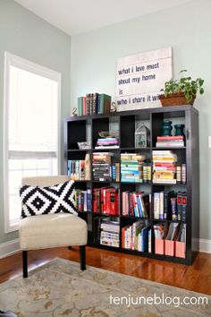 Ten June: Color Coded + Organized Ikea Expedit Bookshelf Styling: A Living Room Update