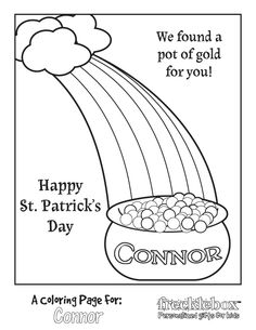 Pot of Gold Coloring Page #1 | Free printable, Saints and Gold