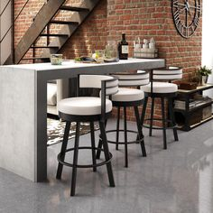 Tie together your bar or kitchen design with Amisco Browser swivel metal counter stools. These geometric swivel bar stools create a contemporary look and add functionality to a counter top or Metal Counter Stools, Metal Stool, Kitchen Stools, Swivel Bar Stools, New Kitchen, Counter Top, Kitchen Seating, Kitchen Ideas, Brass Kitchen