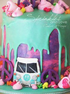 Hippie Cake Combi Van Tie-dye Buttercream Drippy Ganache Popcorn Meringue Cookies White Chocolate Mud Cake