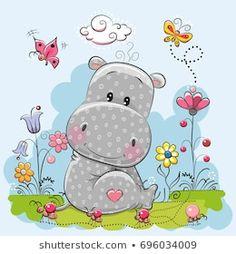 Cute Cartoon Hippo with flowers and butterflies on a meadow Cute Hippo, Baby Hippo, Cartoon Hippo, Cute Cartoon, Cute Images, Cute Pictures, Hippo Drawing, Cartoon Mignon, Art Mignon