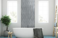 Sonoma Tile Astoria glass accent wall for bathroom available at Forever Tile & Stone Interior Walls, Clawfoot Bathtub, Kitchen And Bath, Master Bathroom, Tiles, Bath Ideas, Bathroom Ideas, Gallery, Glass