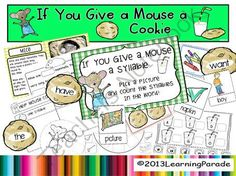 If You Give A Mouse A Cookie Story Unit (CCSS Activities) from LearningParade on TeachersNotebook.com -  (40 pages)  - If You Give A Mouse A Cookie Story Unit: resource includes printables, literacy center, craft activity...