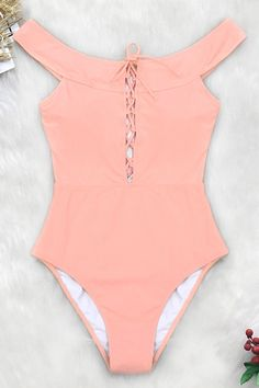 Peach Pink Lace-Up One-Piece Swimsuit Pink Bikini, Bikini Swimwear, Swimsuits, Pink Lace, Lace Up, Boho Swim Suits, Bathing Suits, Fashion Shopping Apps, One Piece Swimsuit