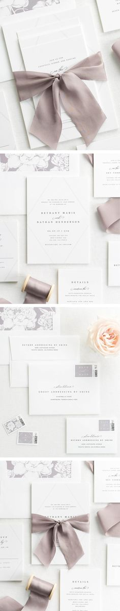 The Bethany wedding invitation collection is perfect for any cool and contemporary wedding.