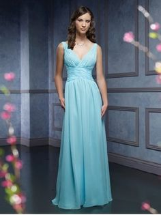 A-Line Light Sky Blue Chiffon V-Neck Wide Straps Pleated Bodice Empire Waist Floor Length Bridesmaid Dresses FBD1140334