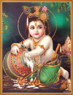 Lord Krishna / Shree Krishna / Baby Krishna / Bal Krishna Poster (Size: 9X11 Inches Unframed)