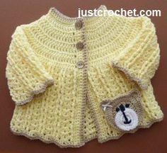 Free baby crochet pattern for pretty coat, http://www.justcrochet.com/shell-coat-usa.html #justcrochet #patternsforcrochet