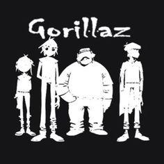BOX'NGO - $18.99 2D Murdoc Noodle and Russel Fictional members Gorillaz rock band black t-shirt