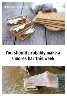 You should probably make a s'mores bar this week - Kara S. Anderson Hu Chocolate, Chocolate Covered, Snow Cone Machine, Cracker Cookies, Solar Oven, S'mores Bar, Snow Cones, Girl Scout Cookies, Peanut Butter Cups