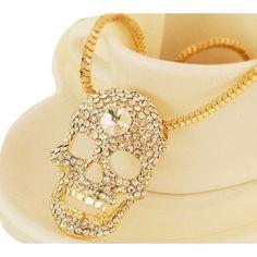 $24.99    Punk Style Gold Rhinestone Skull Pendant Necklace