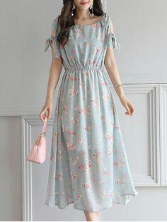 #AdoreWe #Fashionmia Fashionmia Open Shoulder Elastic Waist Printed Chiffon Maxi Dress - AdoreWe.com
