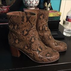 """Topshop snakeskin boots So cute! Worn but still in good shape. There's a small nick on one of the heels (I purchased them this way) but I painted over it so it's not noticeable. Topshop """"39"""" will fit size 8.5 or 9 Topshop Shoes Ankle Boots & Booties"""