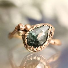 Blue Diamond Twig Ring 14K Rose Gold Ring by louisagallery on Etsy
