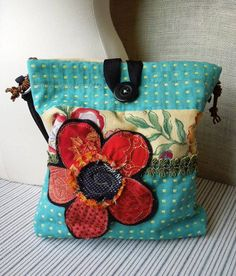 SHABBY CHIC Purse in Turquoise and Red, Boho Slouch Purse, Floral Applique Bag