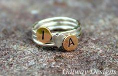 INITIAL RINGS Custom Initial Rings Sterling by galwaydesigns