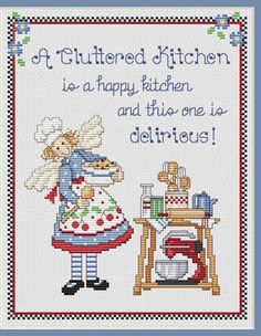 A Cluttered Kitchen Cross Sch Pattern Embroidery Patterns By Sue Hillis Designs