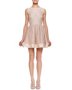 RED Valentino Lattice Overlay Sleeveless Dress - Neiman Marcus
