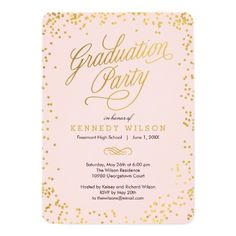 140 best elegant graduation invitations images on pinterest in 2018 shiny confetti graduation party invitation pink filmwisefo
