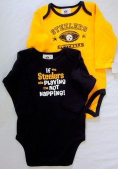 """One yellow long sleeve lap shoulder creeper with screened Steelers Football lettering and logo on a football. One black long sleeve lap shoulder creeper with """"if the Steelers are playing I'm not napping! Baby Girl Dresses, Baby Boy Outfits, Kids Outfits, Sun Dresses, Disney Baby Clothes, Baby Kids Clothes, Steelers Baby Clothes, Kids Clothing, Clothing Stores"""