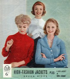 1950s High Fashion Jackets in 7 sizes Vintage by PamoolahVintage (Craft Supplies & Tools, Patterns & Tutorials, Fiber Arts, Knitting, instant download, vintage knitting, shrug cardigan pdf, pdf vintage knitting, vintage pattern pdf, knitting pattern pdf, 1950 pattern pdf, ladies cardigan pdf, pdf crochet pattern, granny square pdf, bolero pattern pdf, high fashion pattern, ladies jacket pdf)