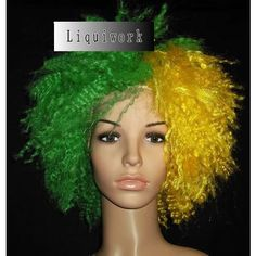 Funny Green and Yellow Super Bowl Football Fan Halloween Costumes Wigs SKU-158028