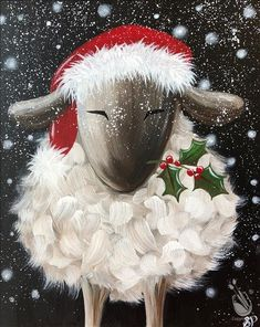 Christmas Santa's Sheep, Cross Stitch Pattern – Beste Winterbilder Easy Canvas Painting, Winter Painting, Winter Art, Painting & Drawing, Simple Acrylic Paintings, Christmas Paintings On Canvas, Diy Y Manualidades, Sheep Art, Illustration Noel