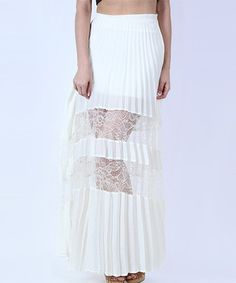 Another great find on #zulily! Cream Lace-Panel Accordion Maxi Skirt by Collective Rack #zulilyfinds